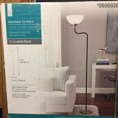 Style Selections 72in Satin Nickel Torchiere Floor Lamp Acrylic Shade