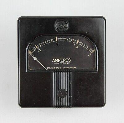 1930s-40s Vintage Rca Type T-35 3 Square Panel Meter 0-2 Amperes Rf Nice