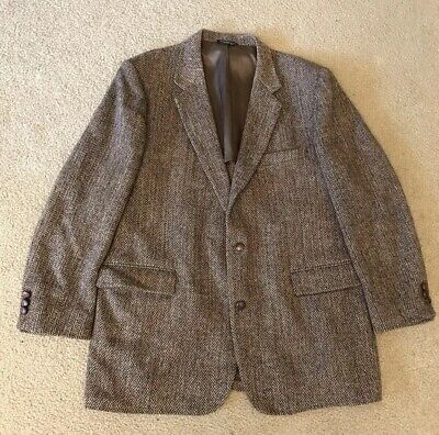 Harris Tweed Herringbone Blazer Suit Coat Sport Jacket Size 46R READ DESCRIP