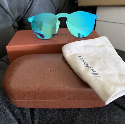 Illesteva Leonard Mask Signature Sunglasses Blue Gold Light Msrp $190