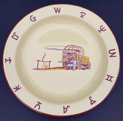 MONTERREY WESTERN WARE 1950's Vintage Enamelware Cowboy Chuck Wagon Plate Dish