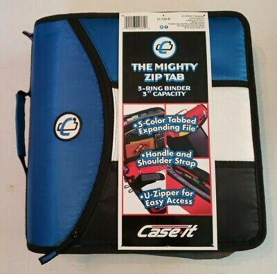 Case It Mighty Zip Tab 3 Inch Capacity Ring Zipper Binder Blue D-156-b Blue New