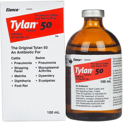 Tylan 50 100ml Antibiotic for Beef Cattle Dairy Cattle Swine Elanco