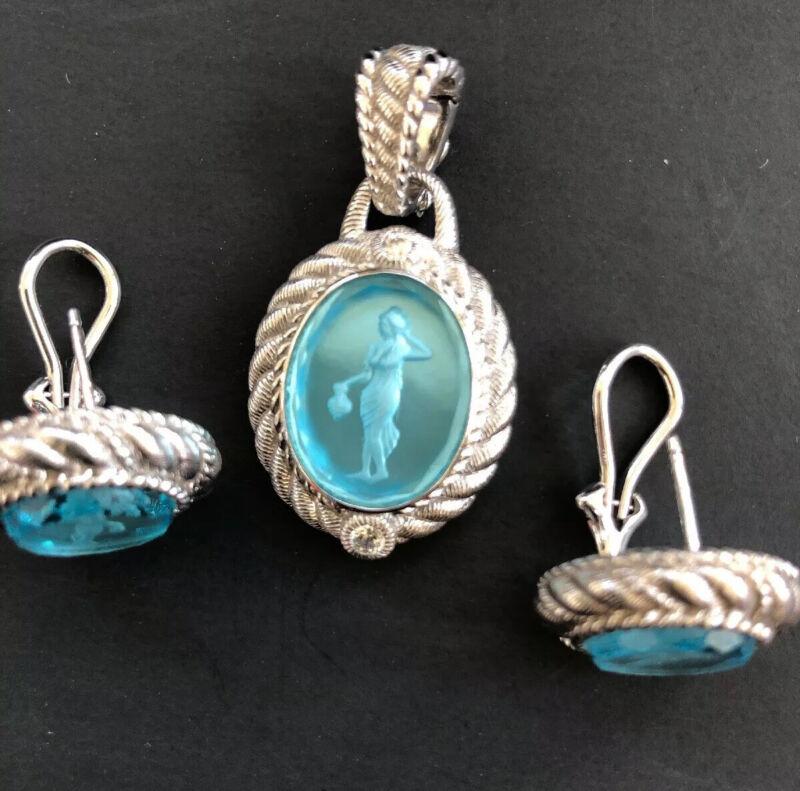 Judith Ripka Sterling Silver Blue Intaglio CZ Fleur De Lis Earrings Pendant Set