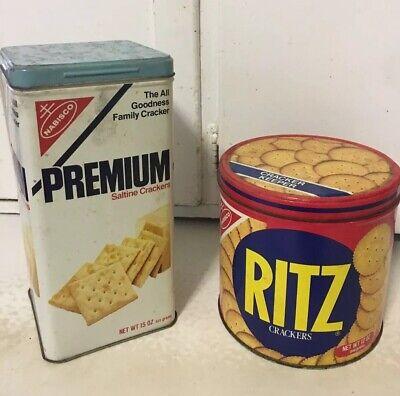 Used, TWO Vintage Nabisco Cracker Tins, Round Ritz & Rectangular Saltine. for sale  Glen Cove