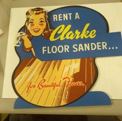 1950 Rent A Clarke Floor Sander Counter Card Sign Nos Sales Brochure Prices