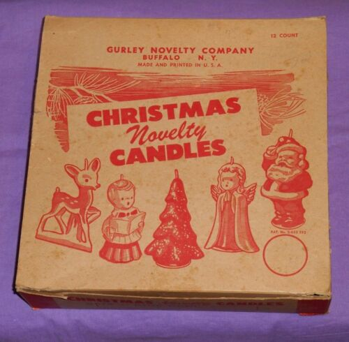 vintage Christmas GURLEY NOVELTY CANDLE candles ORIGINAL STORE DISPLAY BOX