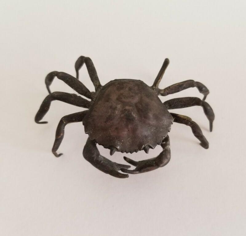 Vintage Antique Silverplate Crab Trinket Box Case Figurine Spanish As is