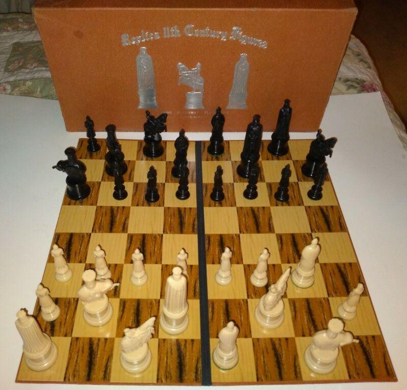 "REPLICA 11th CENTURY FIGURES Chess Set Genuine Kingsway 1947, King is 4"", 2"" Sq."