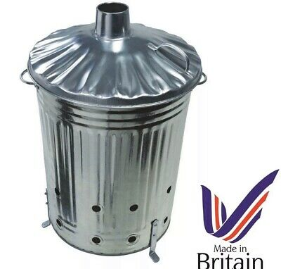 60L LARGE INCINERATOR GALVANISED METAL GARDEN WASTE RUBBISH WOOD FIRE BIN 🔥