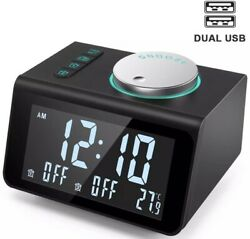 ANJANK Small Alarm Clock FM Radio Dual USB Charging PortsTime Temperature