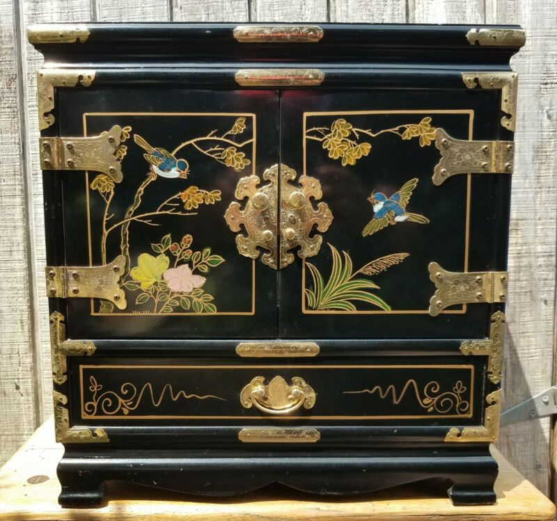 Vtg Mid Century Black Gilt Lacquer Asian Jewelry Box Chest Drawers Painted Japan