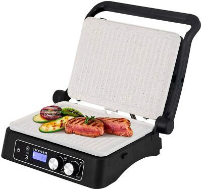 IKOHS Stone Grill Dual Pro Sandwichera Grill 2000W Abatible 180° Cerámica Gris