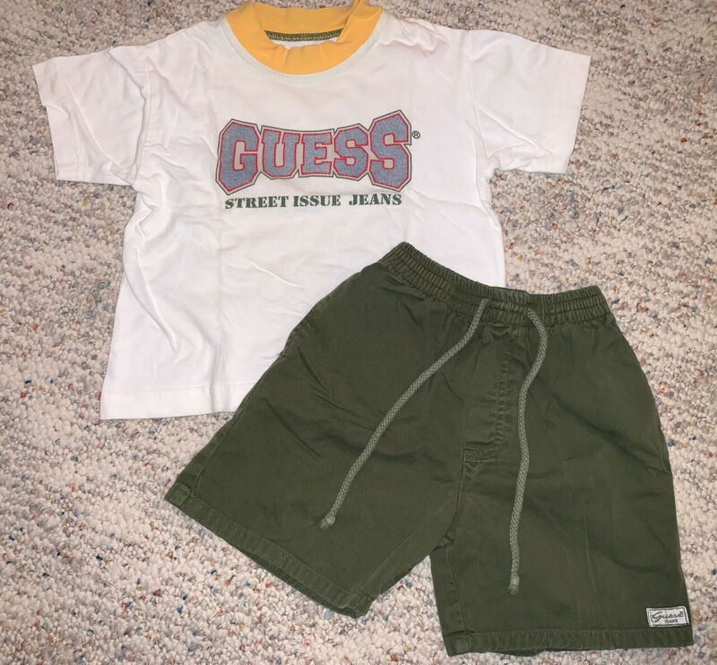 Vintage 90s Baby Kids Guess Shorts & Shirt Matching Set Summer Outfit Size 2-3