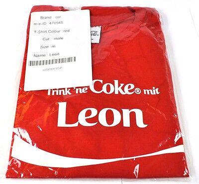 Coca-Cola Coke Leon T-shirt rot Größe M Namen Vornamen Namensshirt