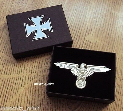 REPRO GERMAN 'PERCHED EAGLE' CAP BADGE - SILVER TONE IRON CROSS MEDAL