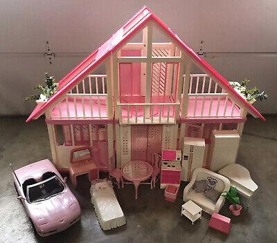 Vintage 1985 Mattel Barbie Dream House, Car, Furniture & Instructions - RARE!!