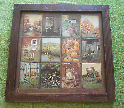 Vintage Homco Home Interior Fall Harvest Wood Framed 12 Window Pane Picture***