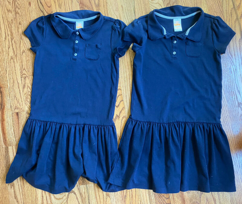 Lot Of 2 Gymboree Girls School Uniform Short Sleeve Polo Dress Navy Blue NWOT 12