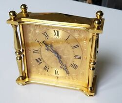 Vintage Swiss Bucherer 15 Jewels Mantel Shelf Desk Clock For Repair Brass
