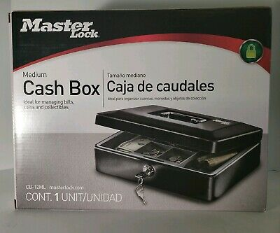 Master-lock Medium Cash Box W Keyed Lock. New In Box