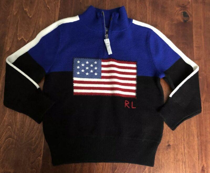 NWT $95 POLO RALPH LAUREN 100% WOOL USA FLAG  SWEATER SZ 2/2T