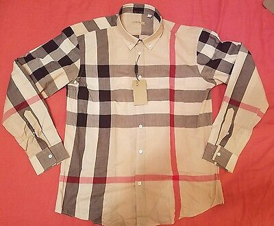 Burberry Brit Camel Check Men's Casual Shirt Size M