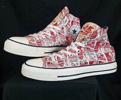 Converse CT Old Advertisement All Over Script Womens Hi Top Sneakers SZ 8