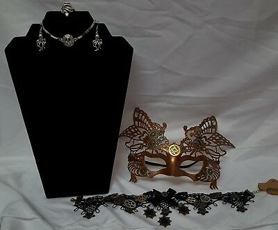 Woman's Steampunk Mask, Victorian Choker, Jewelry Halloween Prop Cost. Accessory