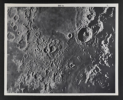 1960 Lunar Moon Map Photo Theophilus B5-b Lick Observatory Plate L7 Astronomy