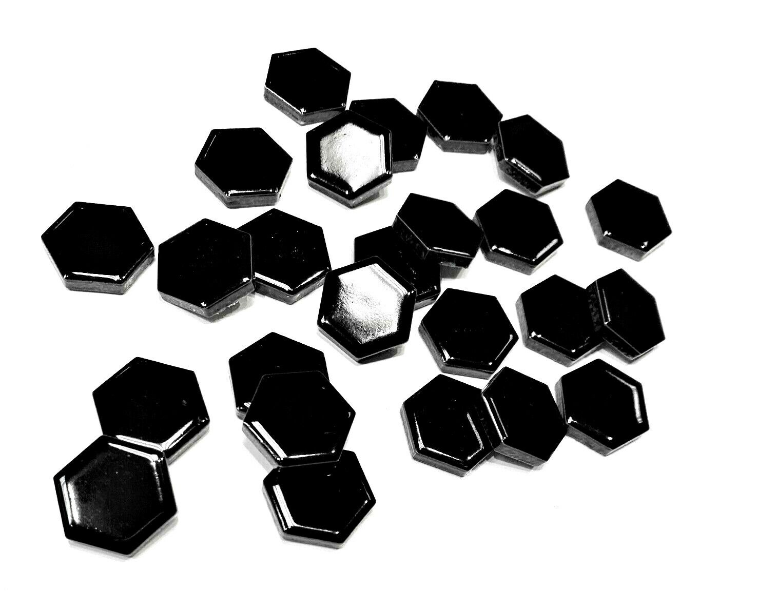 Black 1 inch Hexagon Porcelain Tile Arts and Crafts (pack of 100 individual pcs)
