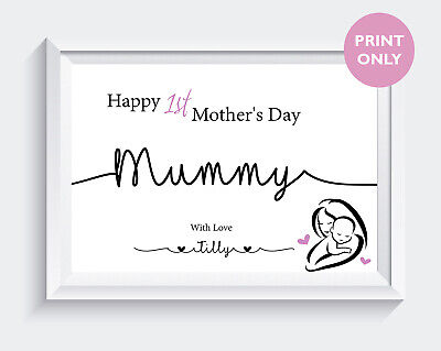 Personalised First Mothers Day Gift Print Mum Mummy Family Daughter Son