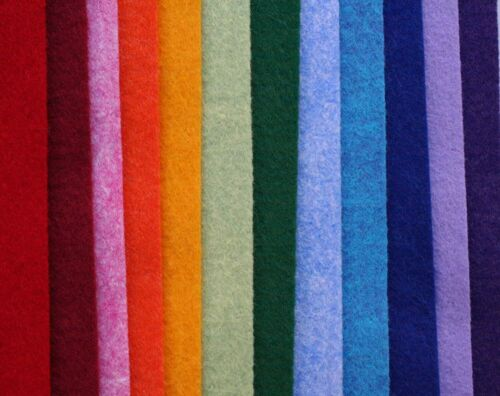 "Wool blend felt 12 pack, NEW, 12x18"" rainbow colors, 12 x 18 inches"
