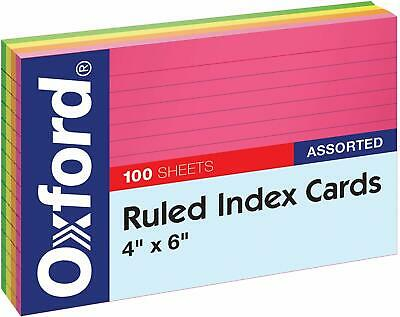 Oxford Ruled Index Cards 4 X 6 Assorted 100pack Oxf34610 5 Colors Sealed