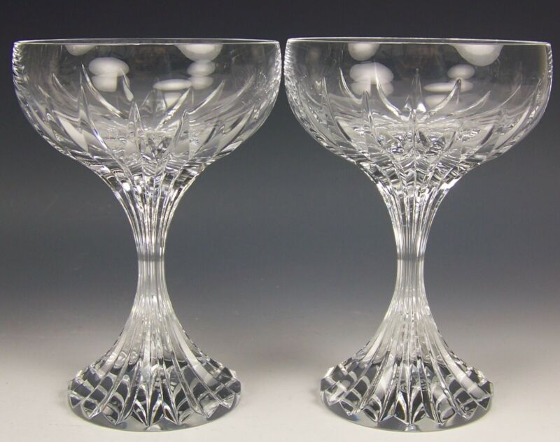"2 BACCARAT CRYSTAL MASSENA 5-1/2"" CHAMPAGNE COUPE TALL SHERBET GLASSES SIGNED"