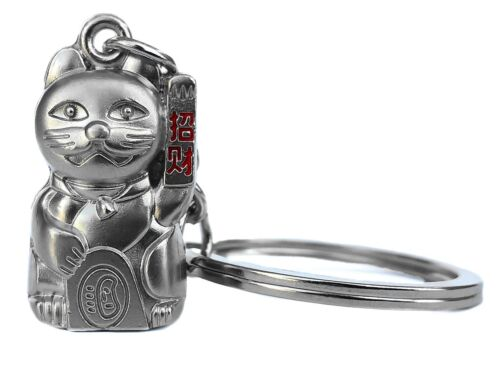 Feng Shui Maneki Neko Lucky Cat key chain ring for wealth luck