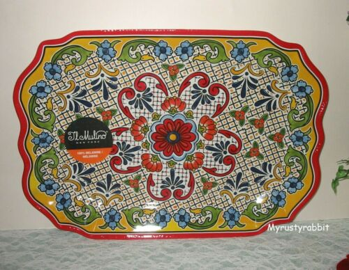 "Il Mulino Melamine Spanish Tile Medallion Serving Tray -  11"" x 15.5"" New"