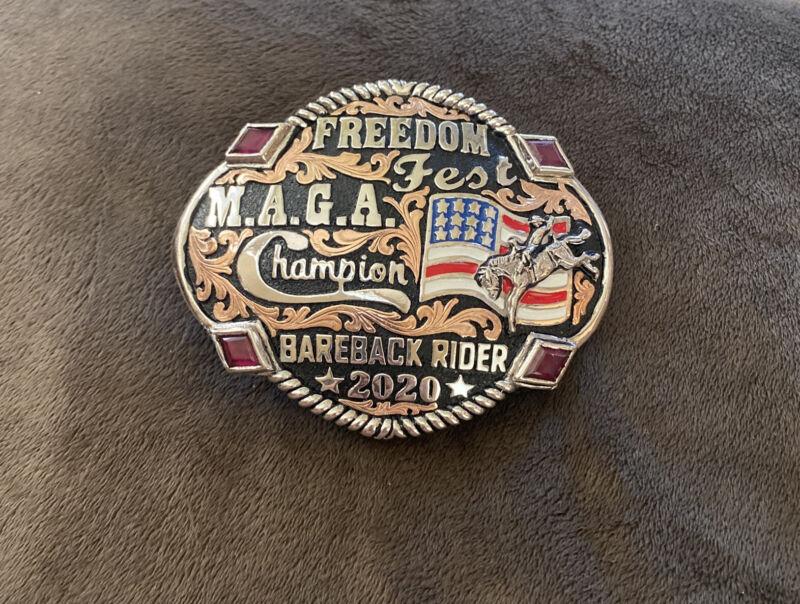 Trophy Rodeo Champion Belt Buckle Bareback Rider Riding