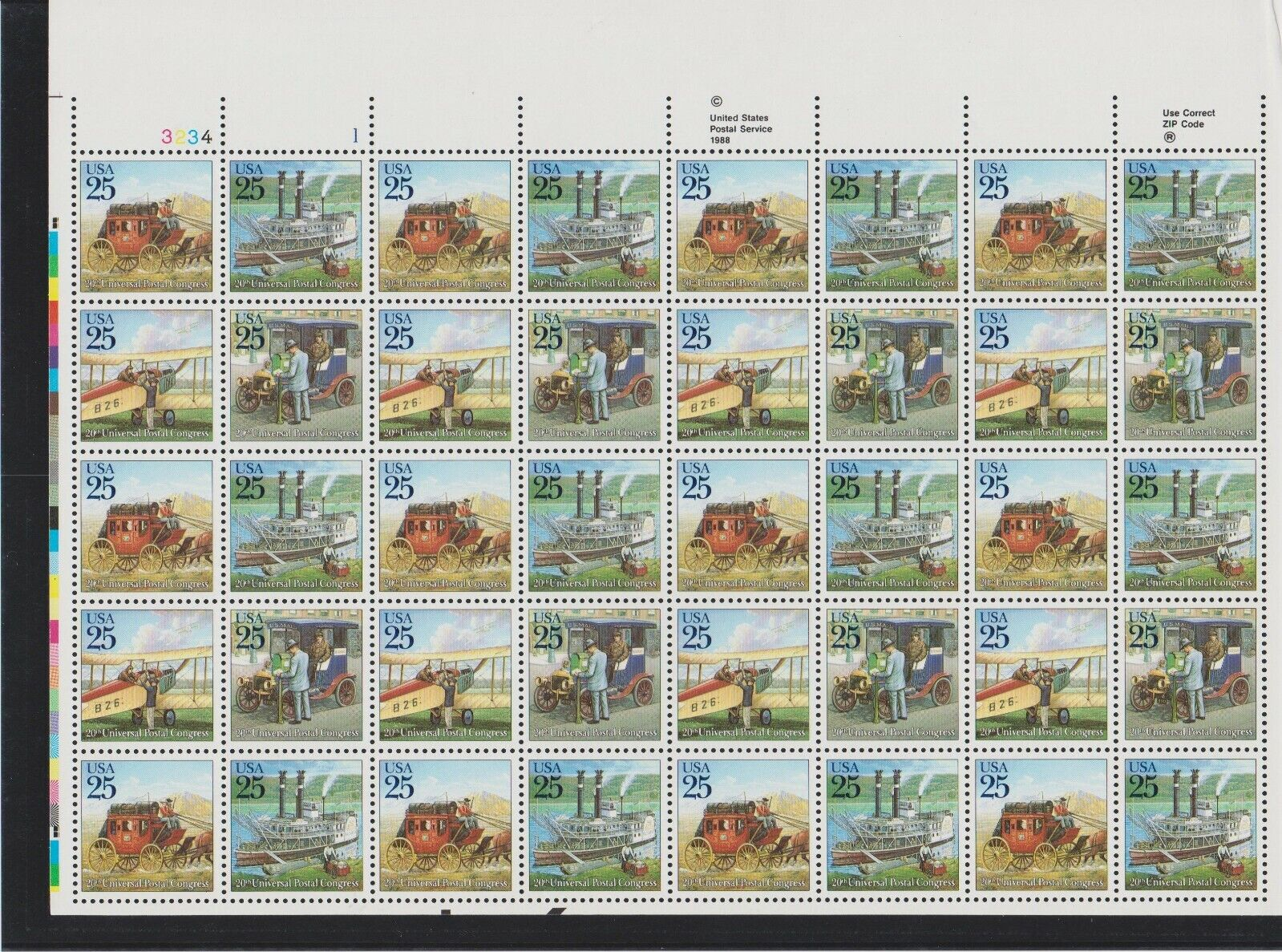 US Traditional Mail Delivery Transportation Sheet Of 40 MNH Scott 2434-2437 - $21.94