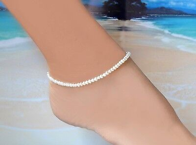"""Freshwater White Pearl & Italian .925 Sterling Silver Ankle Bracelet ~10"""" to 11"""""""