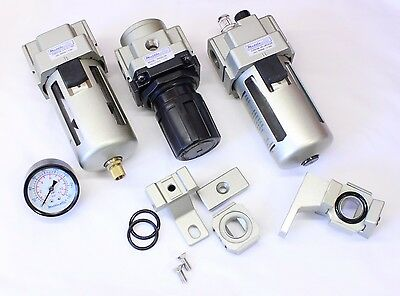 1pc 12npt 4000 Lmin 3 Piece Air Filter Regulator Kit Mettleair Ac4000-n04-kit