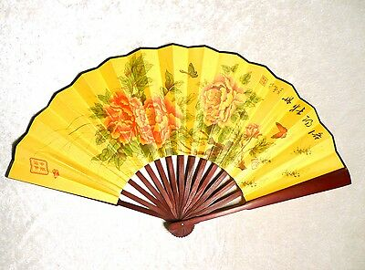 New Asian Traditional Bamboo Fan with PEONY Blossom Large Wall Decor Folding Fan