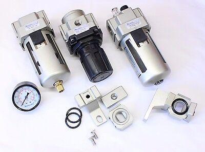1pc 34 Npt 4500 Lmin 3 Piece Air Filter Regulator Mettleair Ac4000-n06-kit