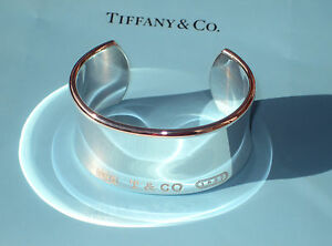 Tiffany & Co Sterling Silver 1837 Wide Cuff Bracelet Size LARGE