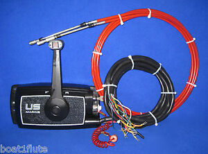 US-MARINE-CHRYSLER-MERCURY-FORCE-OUTBOARD-CONTROL-w-TRIM-TILT-15-CABLES-KEY