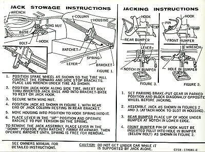 1967 Ford Thunderbird Jack Instruction Decal