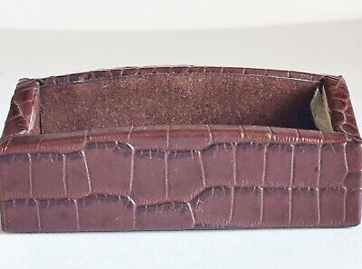 Business Card Holder Office Dacasso Brown Crocodile Embossed Italian Leather