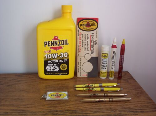 10 Vintage Pennzoil OutBoard Oiler Lubricant Pennztester Bank Keychain Ink Pens