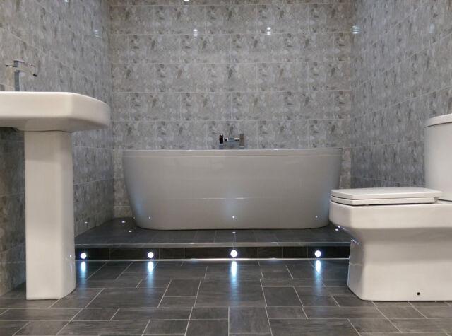 9 grey tile pattern decorative bathroom wall cladding panels pvc paneling ebay for Bathroom decorative wall panels