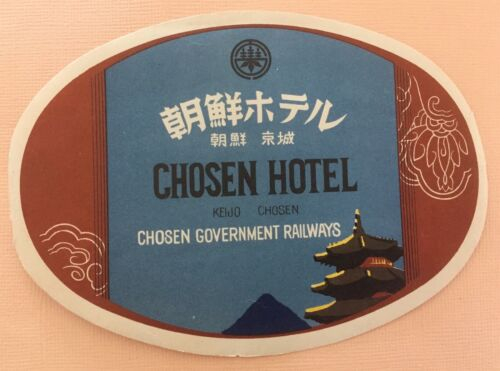 Luggage Label Chosen Hotel, Keijo - Chosen Government Railways